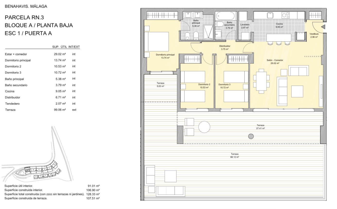 alborada homes benahavis golf la quinta moderne appartementen penthouses te koop grondplan RN3 10A gelijkvloers 3bed