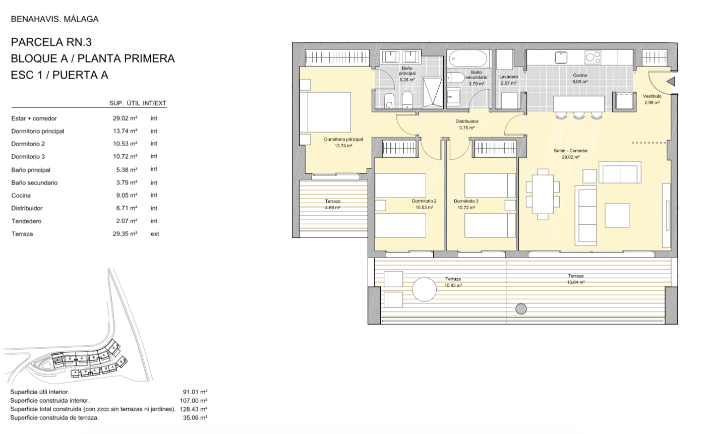 alborada homes benahavis golf la quinta moderne appartementen penthouses te koop grondplan RN3 11A verdieping 3bed