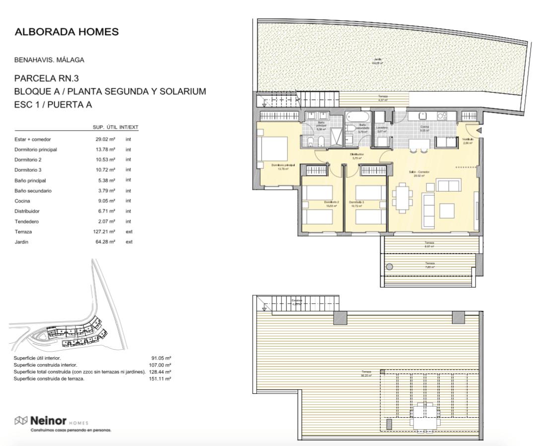 alborada homes benahavis golf la quinta moderne appartementen penthouses te koop grondplan RN3 12A penthouse 3bed