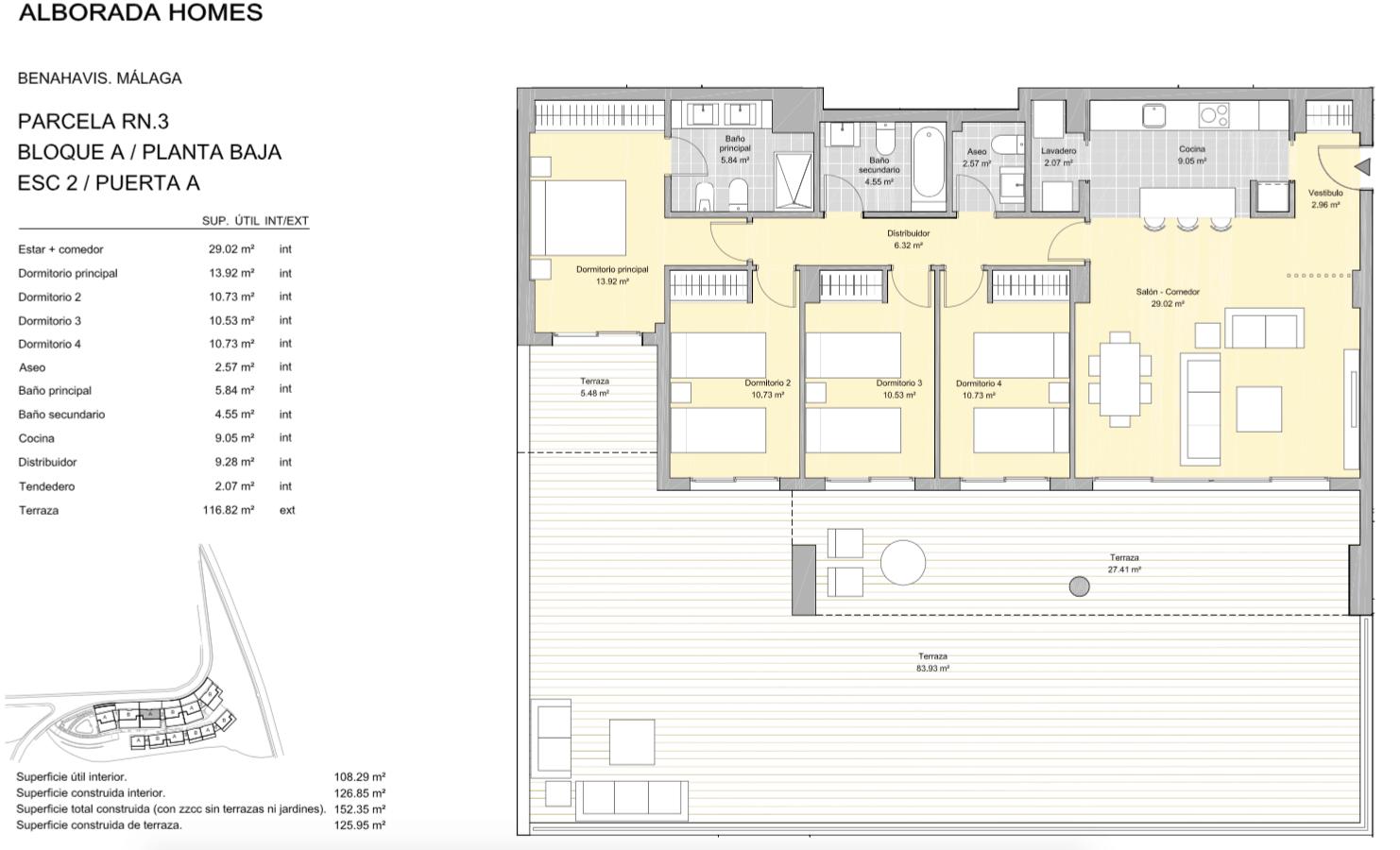 alborada homes benahavis golf la quinta moderne appartementen penthouses te koop grondplan RN3 20A gelijkvloers 4bed