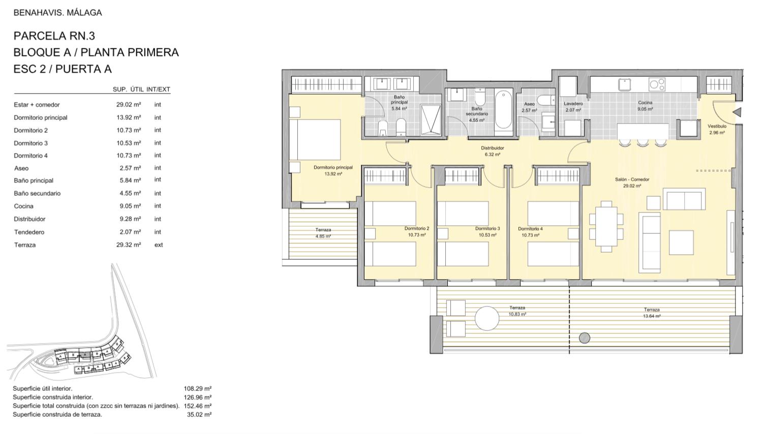 alborada homes benahavis golf la quinta moderne appartementen penthouses te koop grondplan RN3 21A verdieping 4bed