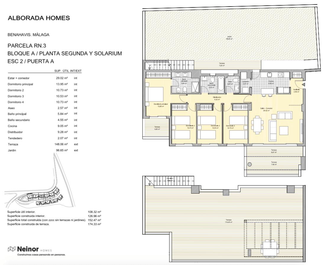 alborada homes benahavis golf la quinta moderne appartementen penthouses te koop grondplan RN3 22A penthouse 4bed