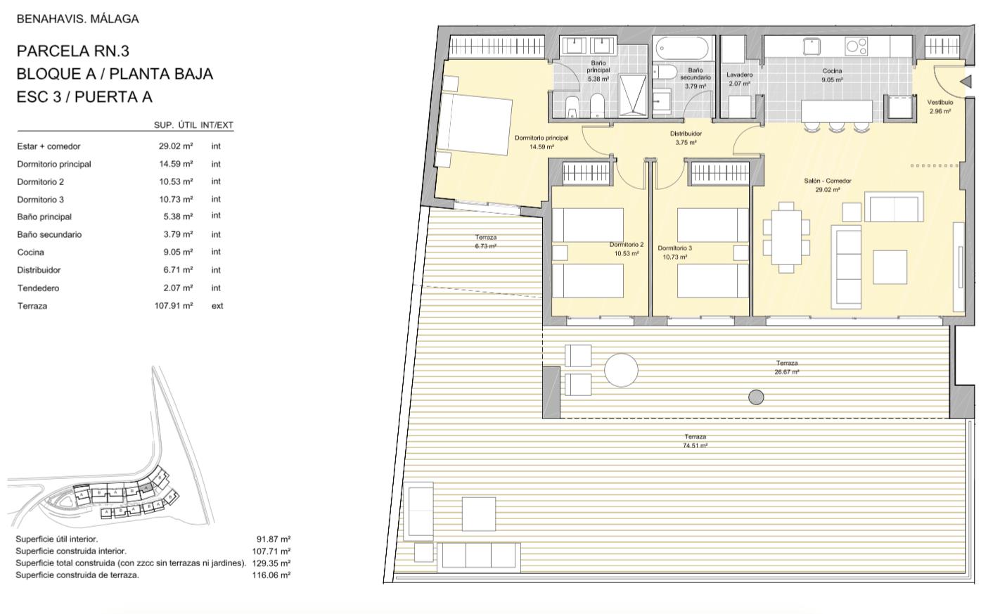 alborada homes benahavis golf la quinta moderne appartementen penthouses te koop grondplan RN3 30A gelijkvloers 3bed