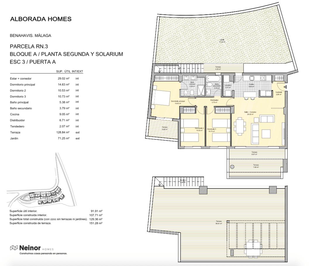 alborada homes benahavis golf la quinta moderne appartementen penthouses te koop grondplan RN3 32A penthouse 3bed