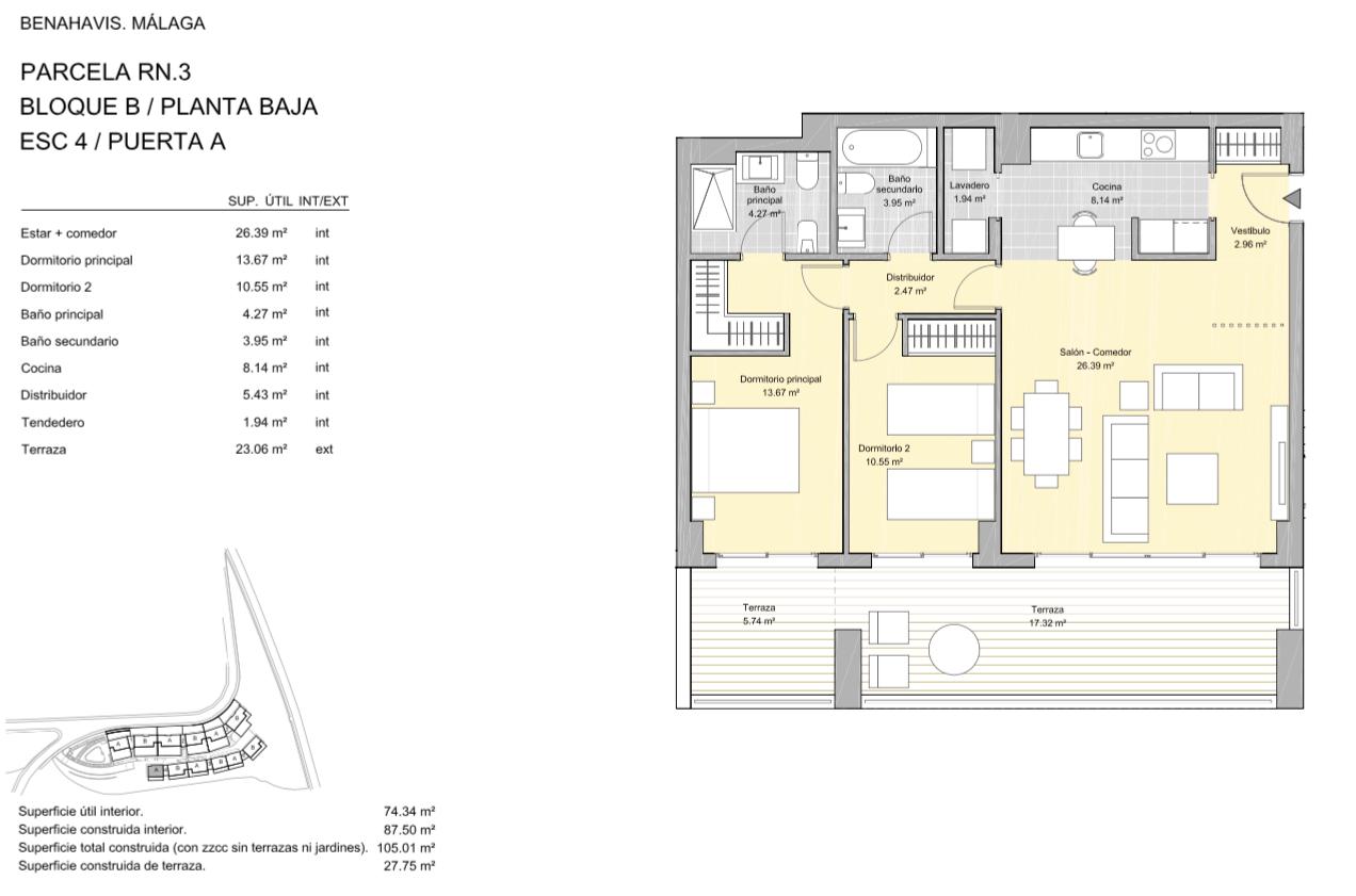 alborada homes benahavis golf la quinta moderne appartementen penthouses te koop grondplan RN3 40A gelijkvloers 2bed