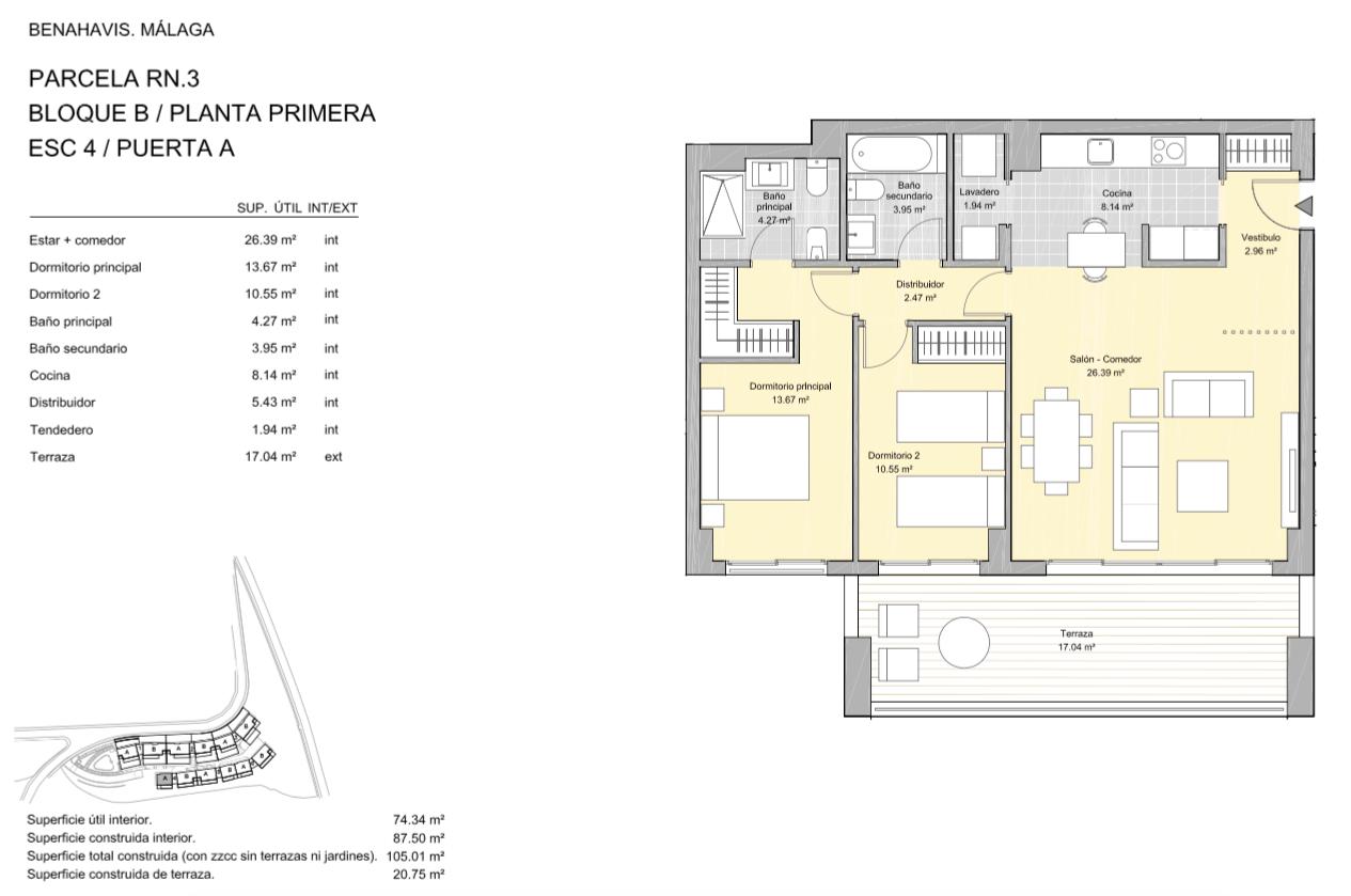 alborada homes benahavis golf la quinta moderne appartementen penthouses te koop grondplan RN3 41A verdieping 2bed