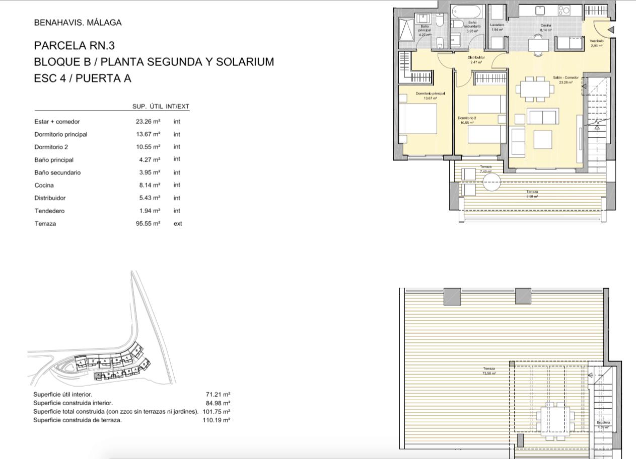 alborada homes benahavis golf la quinta moderne appartementen penthouses te koop grondplan RN3 42A penthouse 2bed