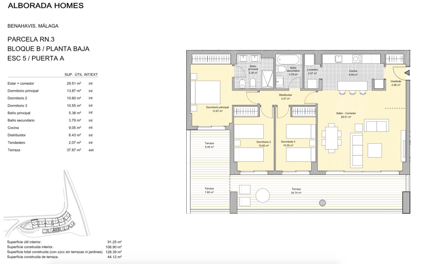 alborada homes benahavis golf la quinta moderne appartementen penthouses te koop grondplan RN3 50A gelijkvloers 3bed