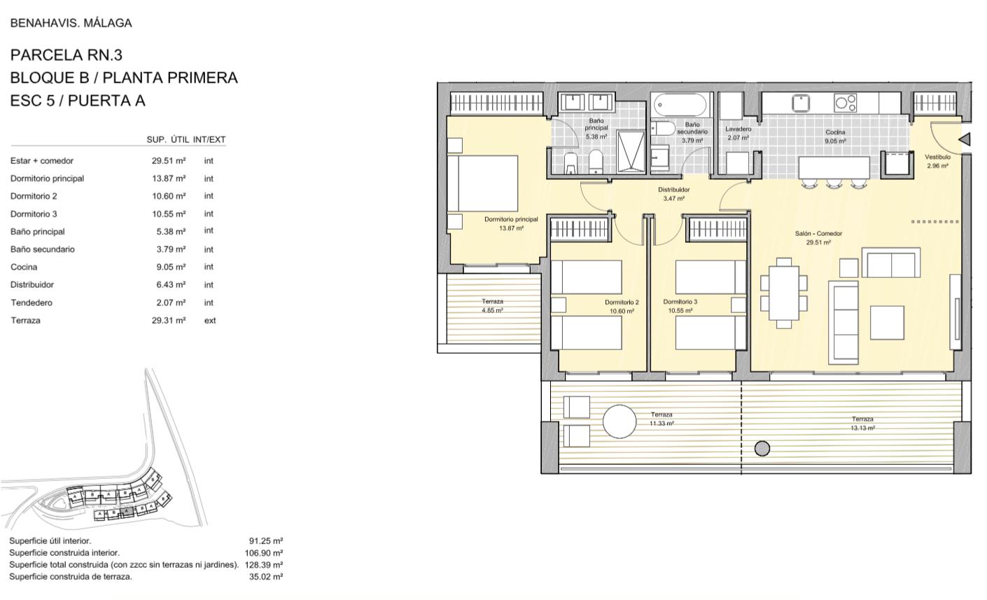 alborada homes benahavis golf la quinta moderne appartementen penthouses te koop grondplan RN3 51A verdieping 3bed