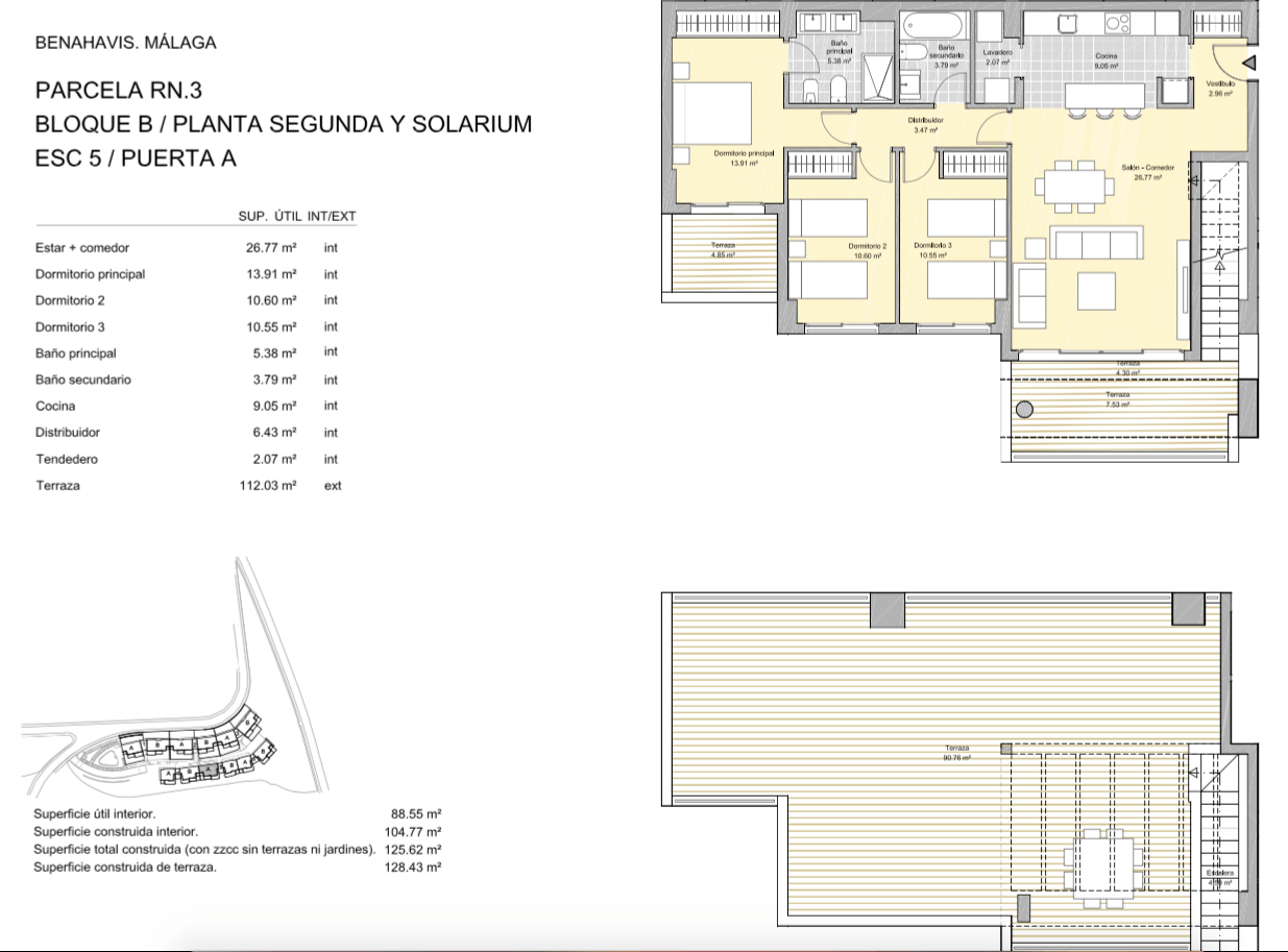 alborada homes benahavis golf la quinta moderne appartementen penthouses te koop grondplan RN3 52A penthouse 3bed