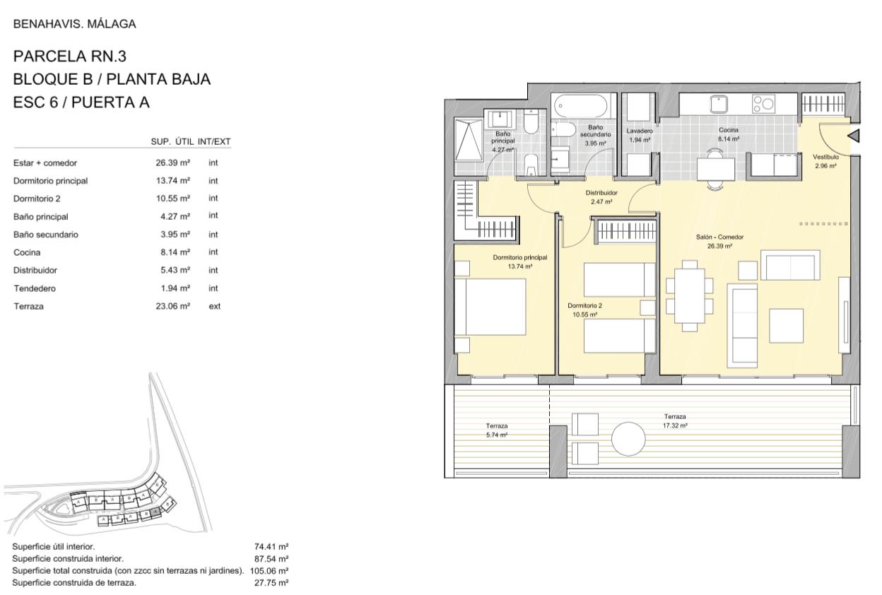 alborada homes benahavis golf la quinta moderne appartementen penthouses te koop grondplan RN3 60A gelijkvloers 2bed