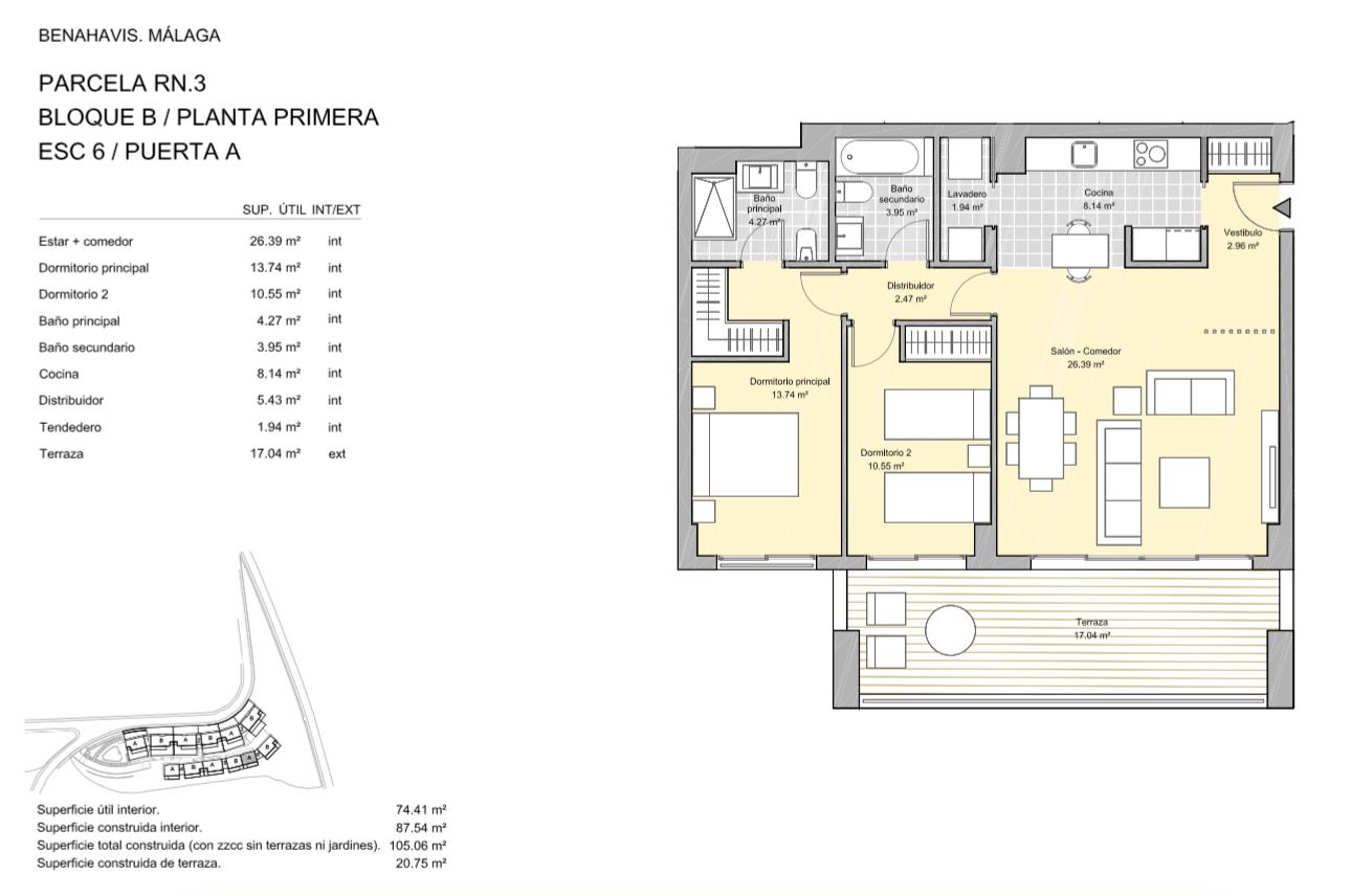 alborada homes benahavis golf la quinta moderne appartementen penthouses te koop grondplan RN3 61A verdieping 2bed