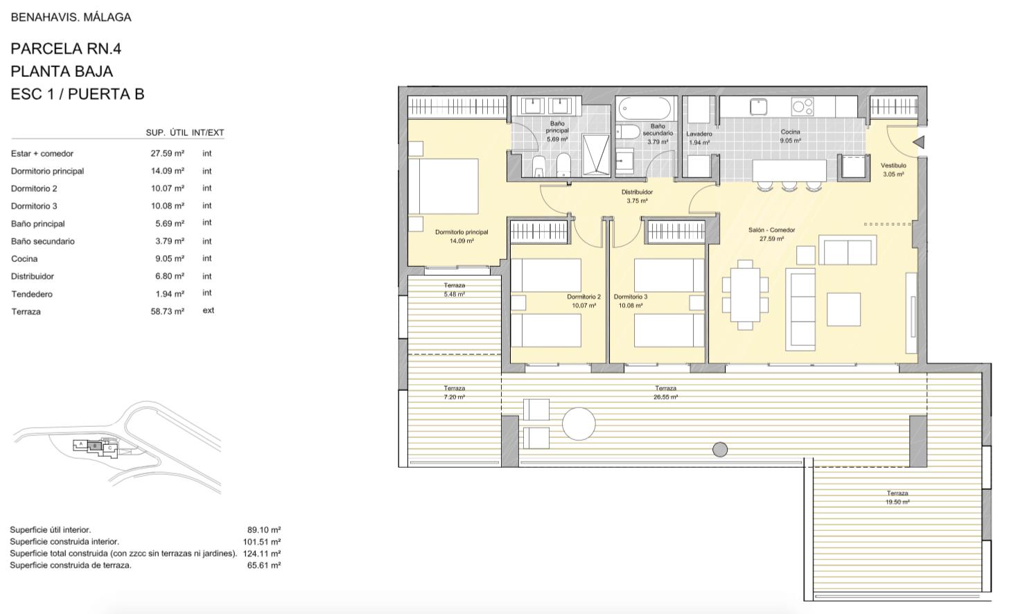 alborada homes benahavis golf la quinta moderne appartementen penthouses te koop grondplan RN3 10B gelijkvloers 3bed