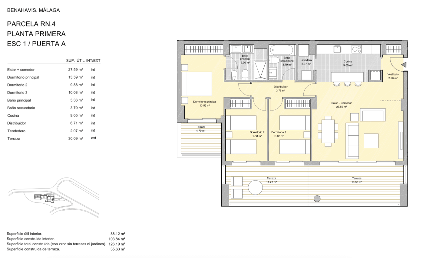 alborada homes benahavis golf la quinta moderne appartementen penthouses te koop grondplan RN4 11A verdieping 3bed