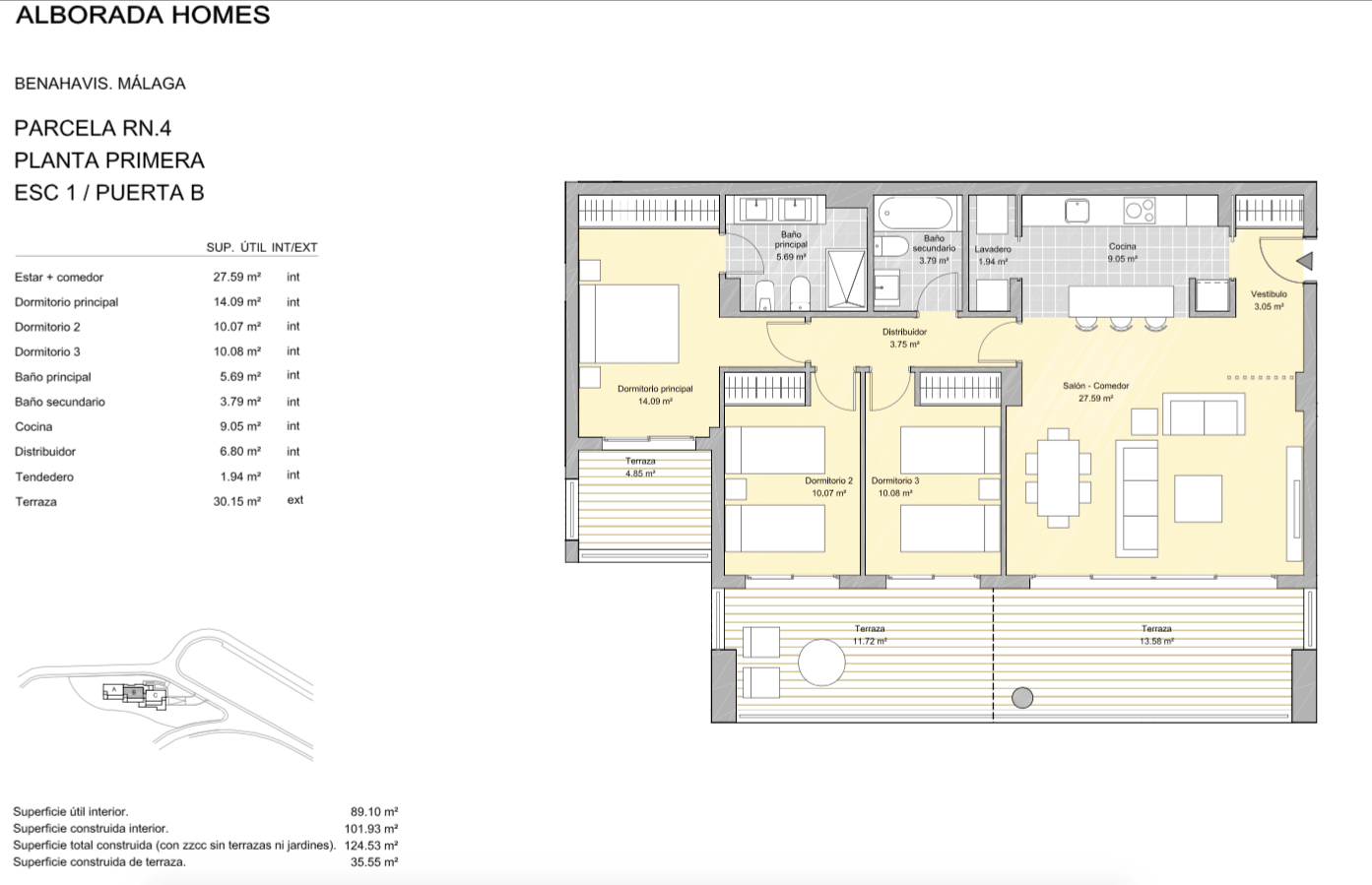 alborada homes benahavis golf la quinta moderne appartementen penthouses te koop grondplan RN4 11B verdieping 3bed