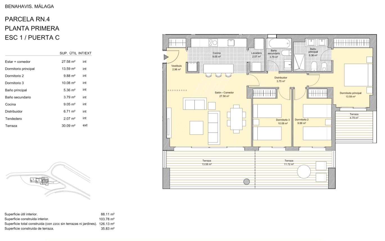 alborada homes benahavis golf la quinta moderne appartementen penthouses te koop grondplan RN4 11C verdieping 3bed