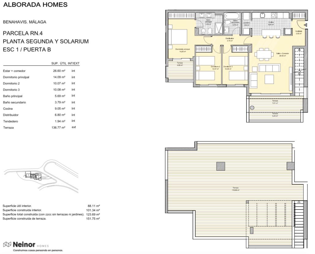 alborada homes benahavis golf la quinta moderne appartementen penthouses te koop grondplan RN4 12B penthouse 3bed