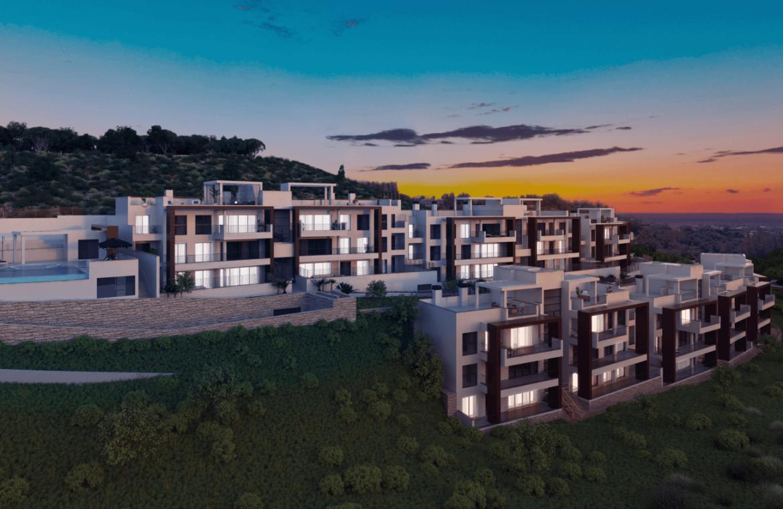 alborada homes benahavis nieuwbouw appartementen penthouses zeezicht kopen avond