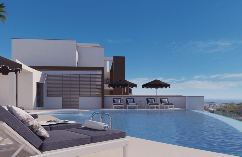 alborada homes benahavis nieuwbouw appartementen penthouses zeezicht kopen gemeenschappelijk zwembad