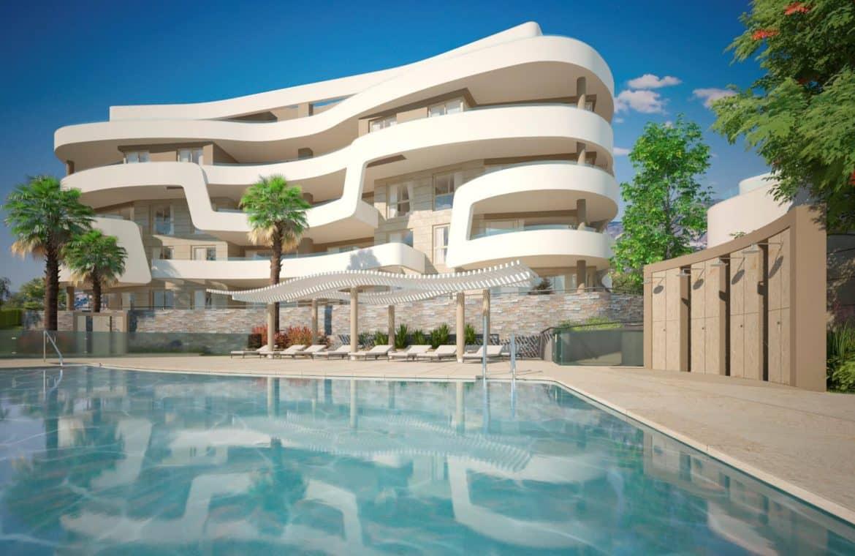 aria la cala de mijas eerstelijns zee appartement zwembad gebouw
