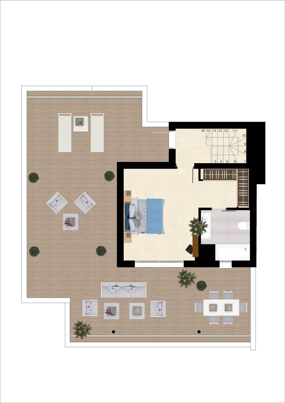 botanic taylor wimpey appartement penthouse los arqueros benahavis zeezicht golf grondplan penthoiuse