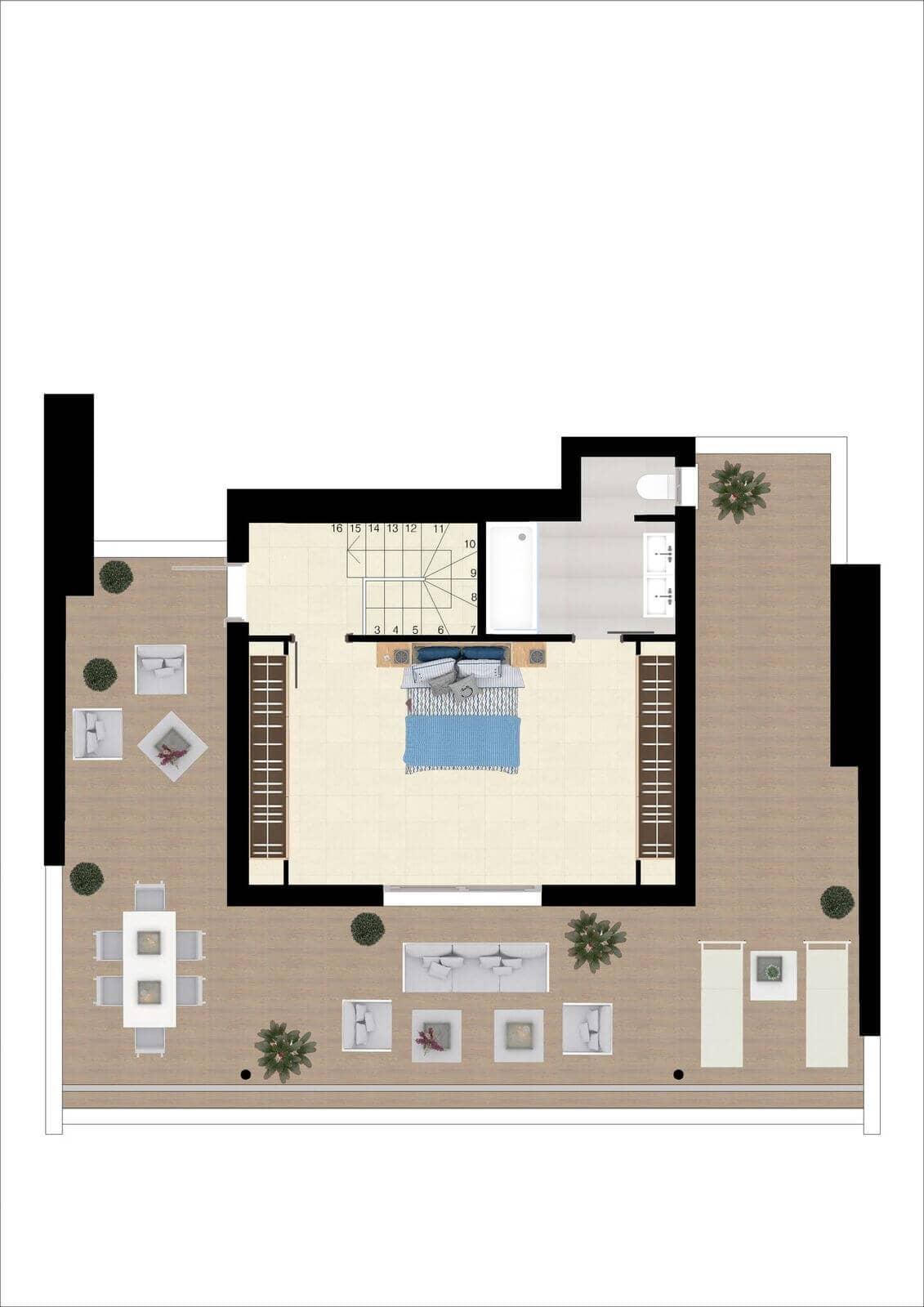 botanic taylor wimpey appartement penthouse los arqueros benahavis zeezicht golf grondplan penthouse2