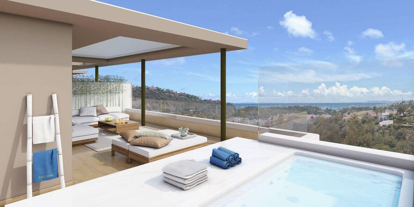 botanic taylor wimpey appartement penthouse los arqueros benahavis zeezicht golf penthouse jacuzzi