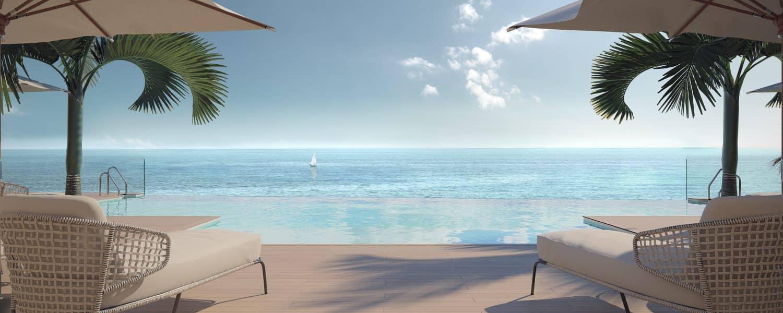darya estepona eerstelijns zee appartement ligbedden