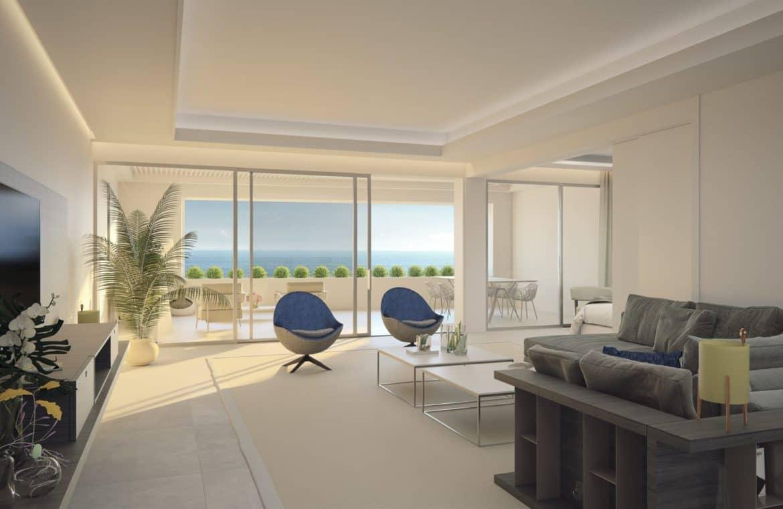 darya estepona eerstelijns zee appartement salon zicht