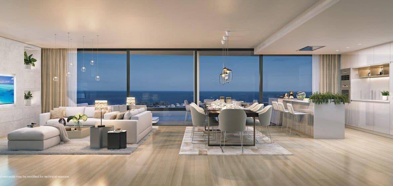higueron west appartement penthouse huis kopen zeezicht living avond