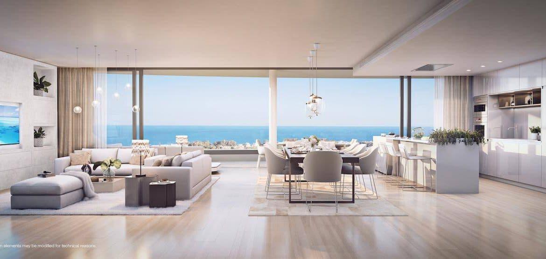 higueron west appartement penthouse te koop zeezicht terras living