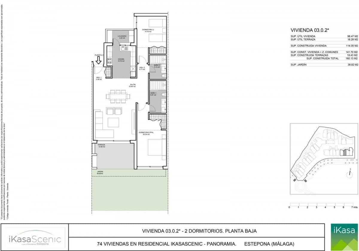 ikasascenic estepona grondplan appartement gelijkvloers slaapkamers 2