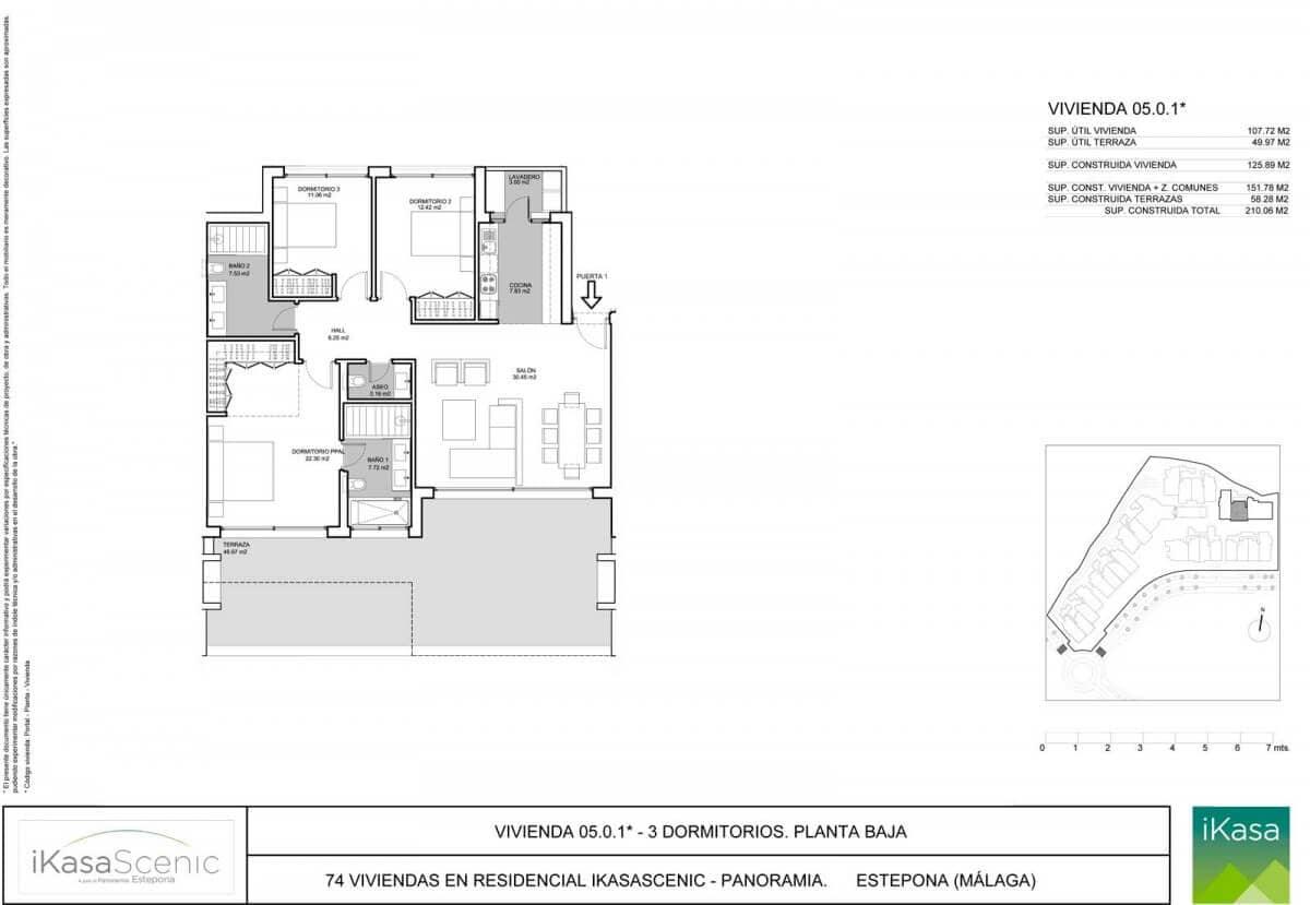 ikasascenic estepona grondplan appartement gelijkvloers slaapkamers 3
