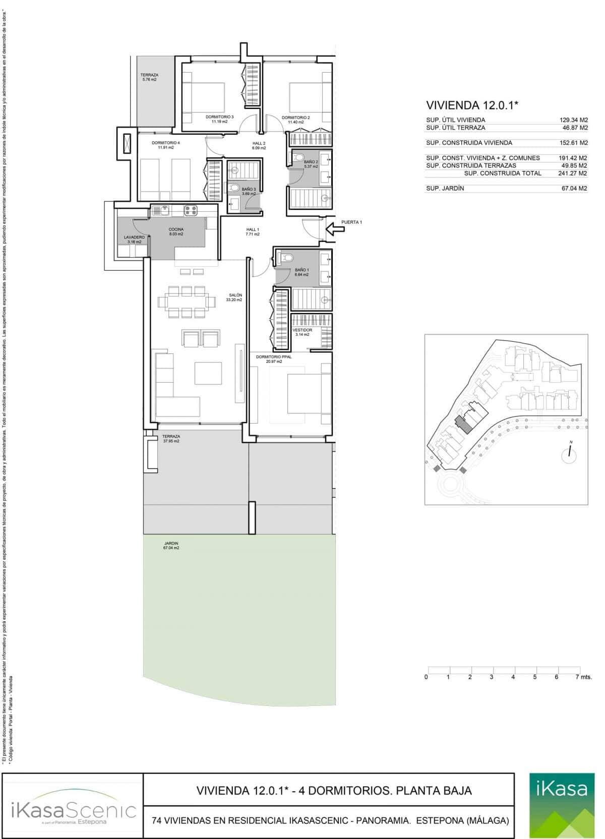 ikasascenic estepona grondplan appartement gelijkvloers slaapkamers 4
