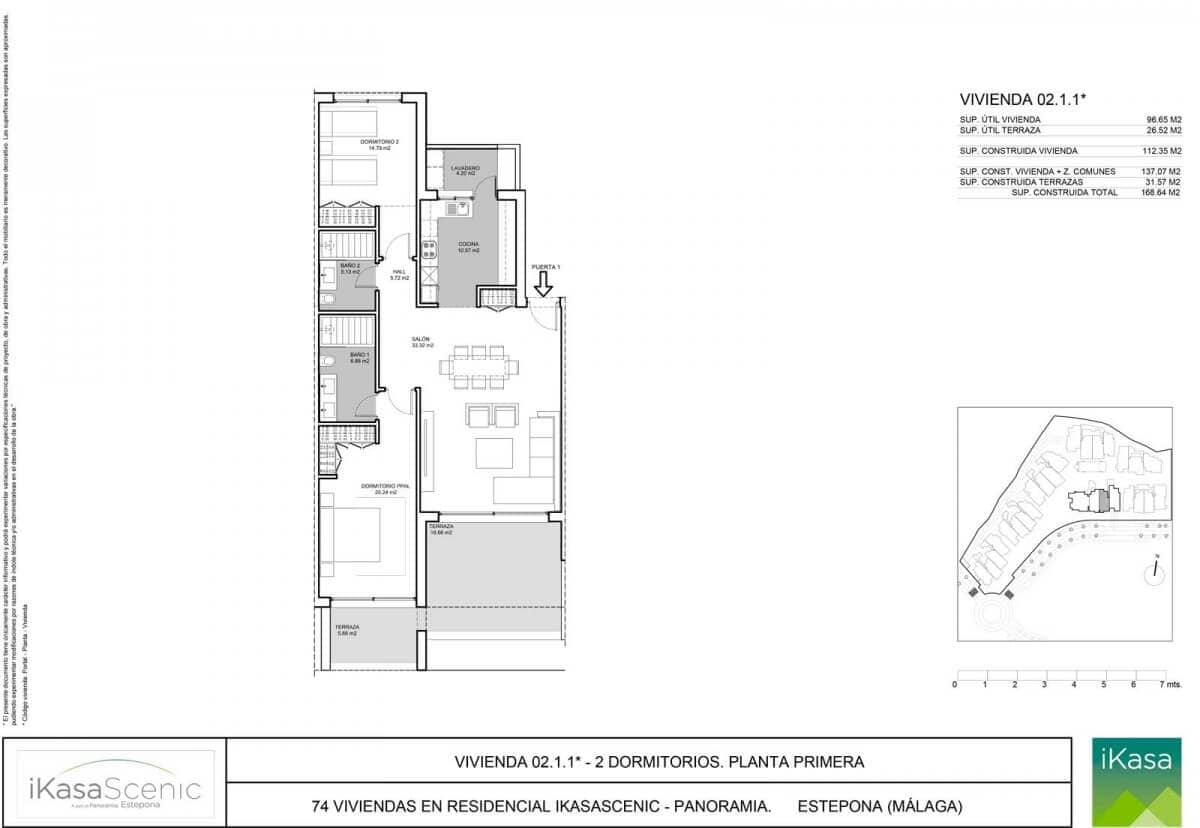 ikasascenic estepona grondplan appartement slaapkamers 2