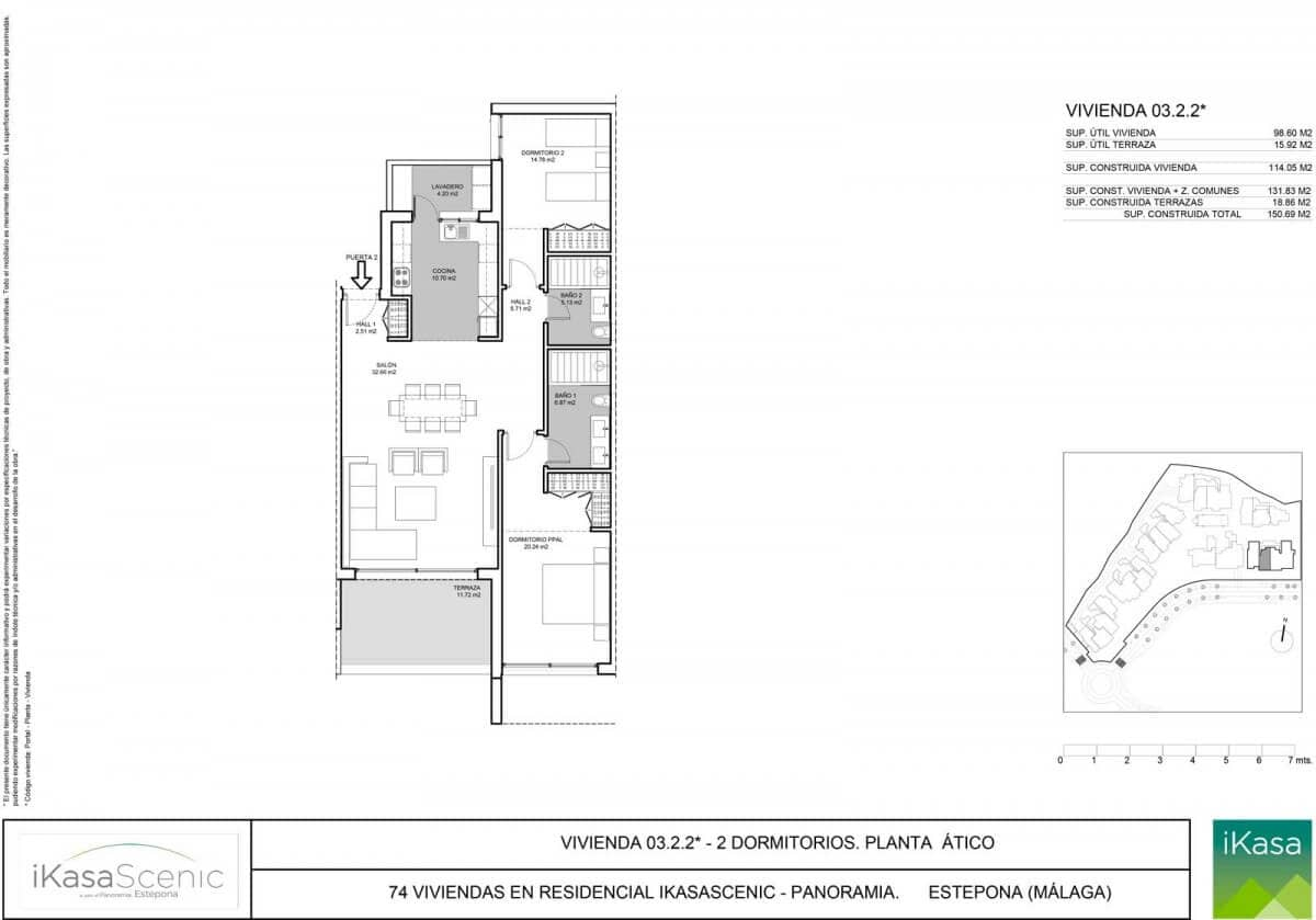 ikasascenic estepona grondplan penthouse slaapkamers 2