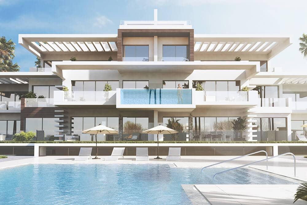 la meridiana suites appartementen golden mile zwembad gebouw