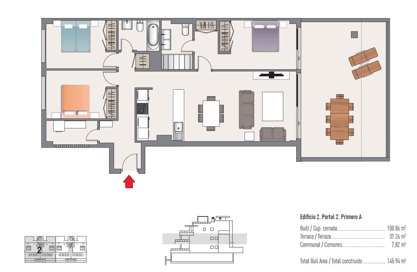 las olas estepona appartement te koop grondplan 3 slaapkamer
