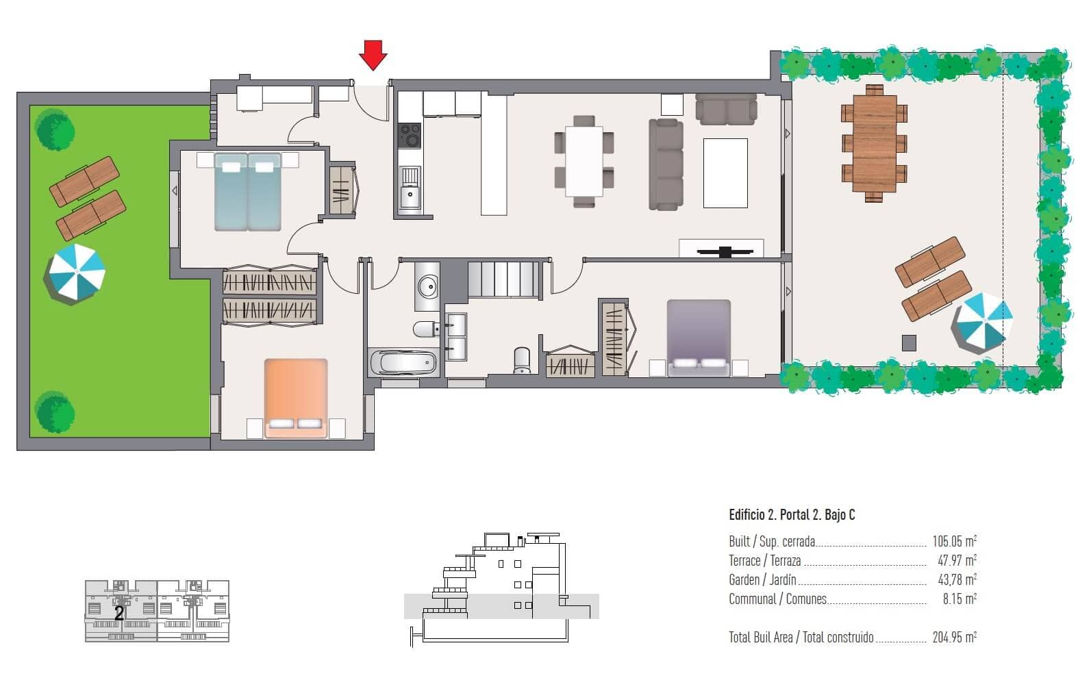 las olas estepona appartement te koop grondplan 3 slaapkamers
