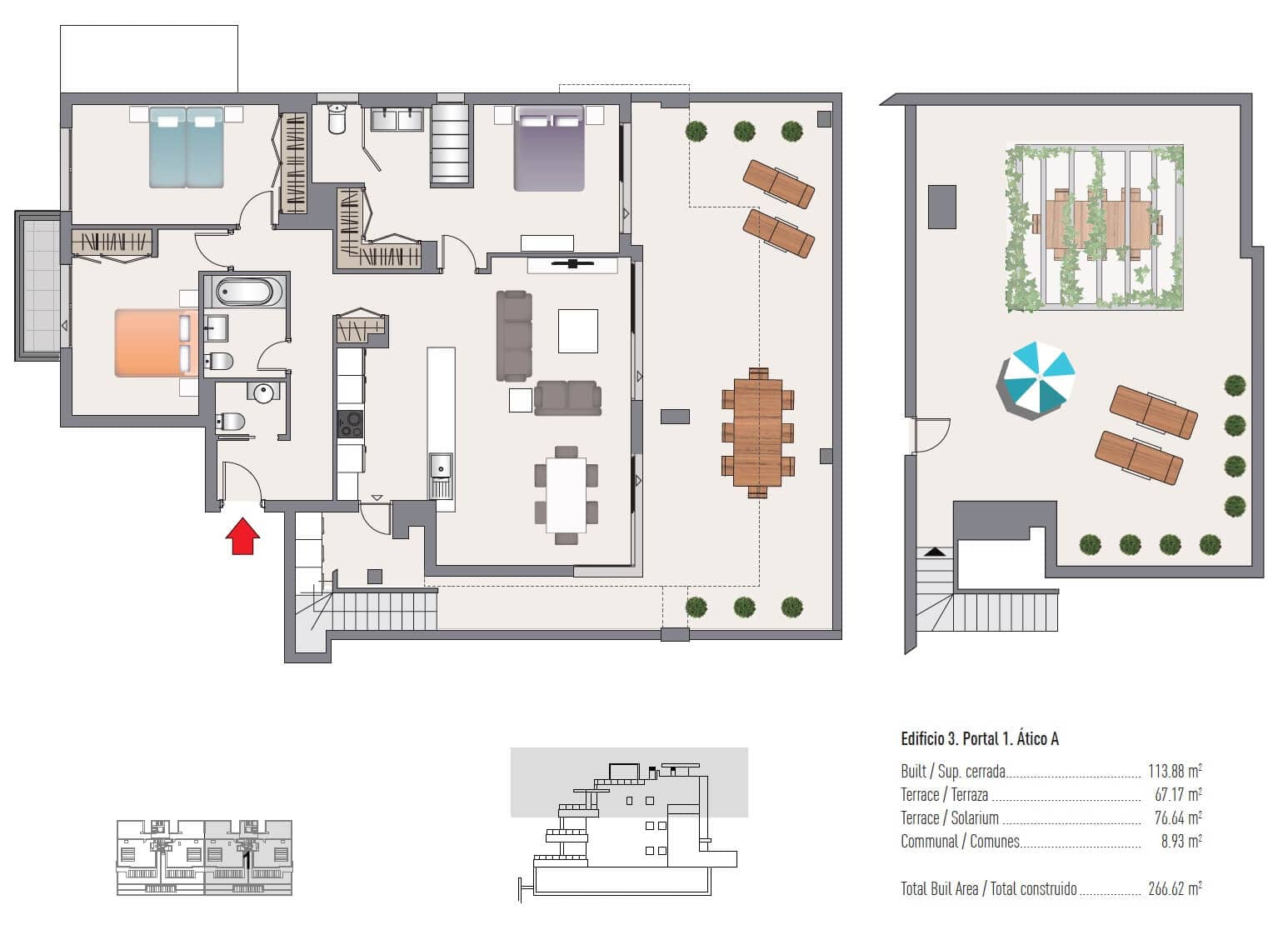 las olas estepona appartement te koop grondplan penthouse 2 slaapkamers