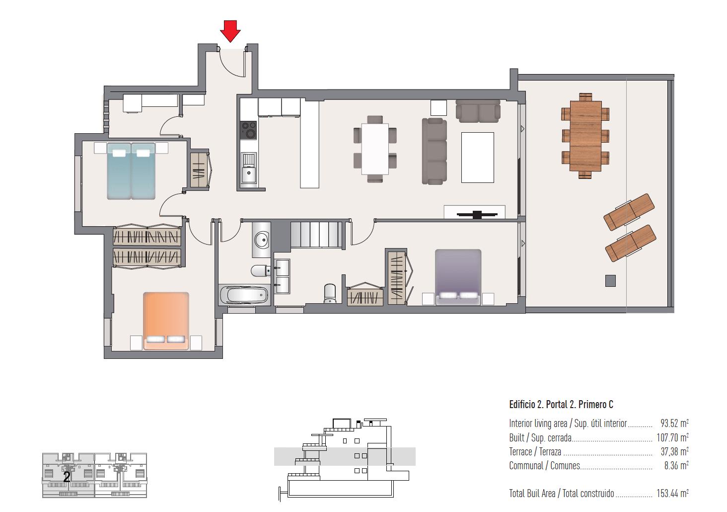 las olas estepona appartement te koop grondplan verdieping 3 slaapkamers