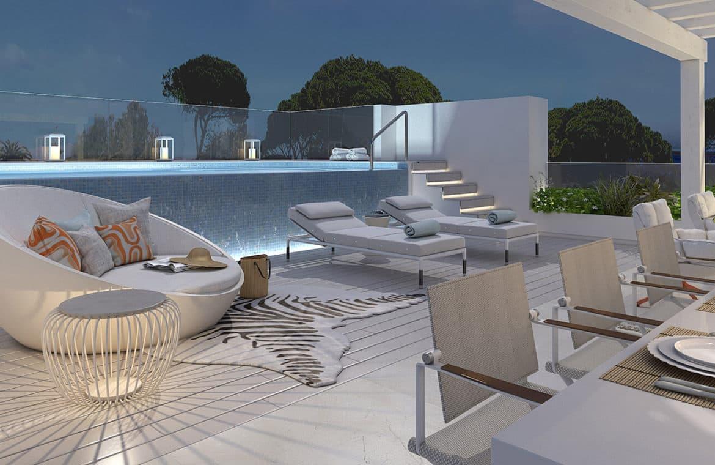 marbella club hills benahavis new golden mile appartementen penthouses te koop zeezicht avond zwembad
