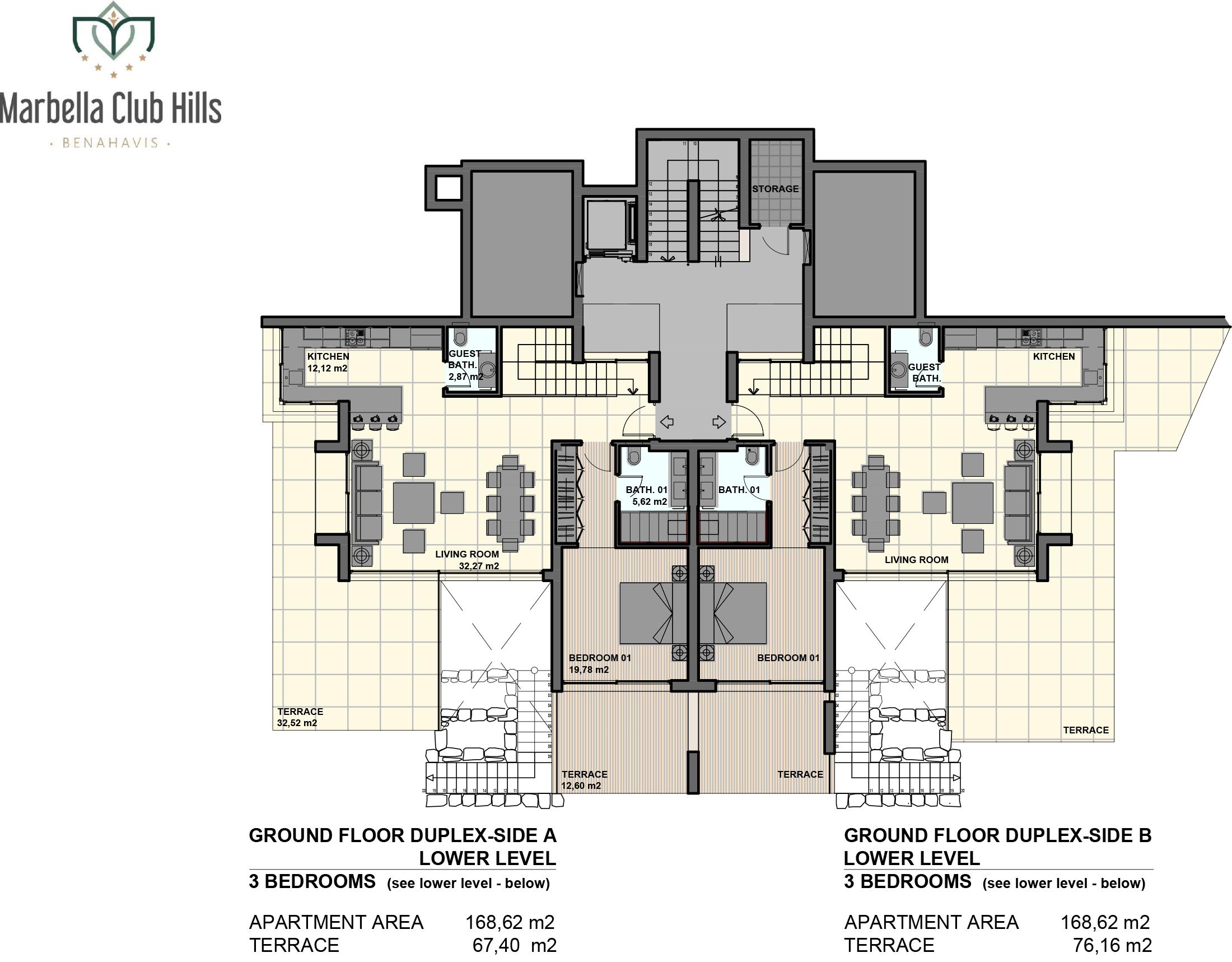marbella club hills benahavis new golden mile appartementen penthouses te koop zeezicht grondplan 3slaapkamer s gelijkvloers