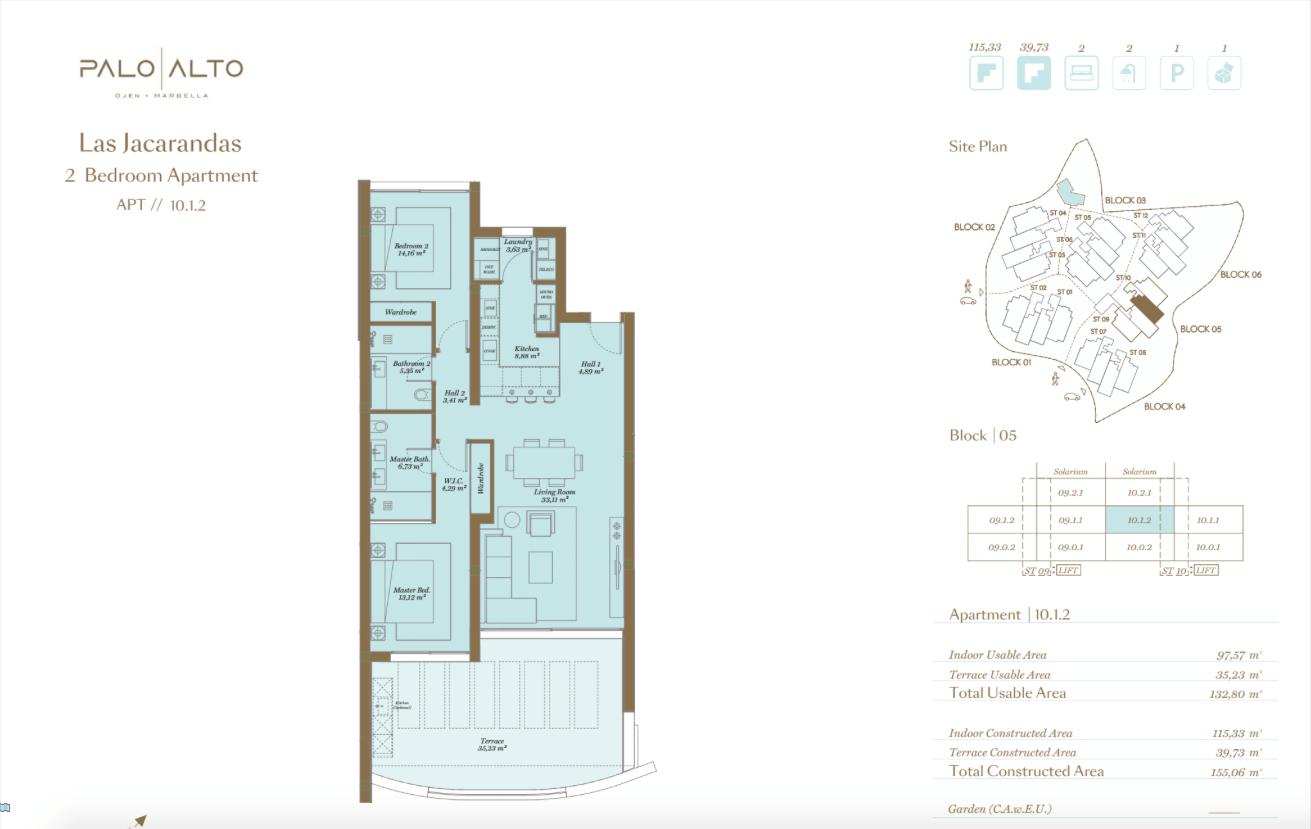 palo alto ojen marbella nieuwbouw resort luxe te koop appartement penthouse modern grondplan las jacarandas slaapkamers 2 tussenverdieping