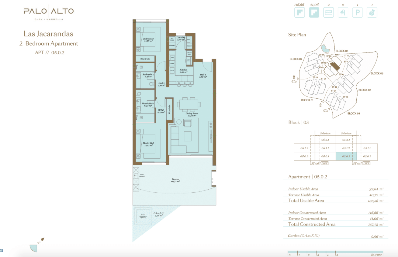 palo alto ojen marbella nieuwbouw resort luxe te koop appartement penthouse modern grondplan las jacarandas slaapkamers 2