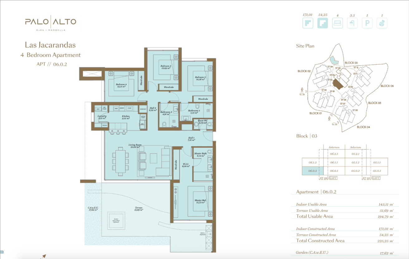 palo alto ojen marbella nieuwbouw resort luxe te koop appartement penthouse modern grondplan las jacarandas slaapkamers 4