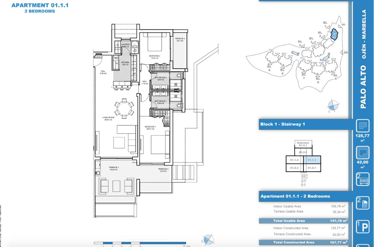 palo alto ojen marbella nieuwbouw resort luxe te koop appartement penthouse modern grondplan los almendros I slaapkamers 2