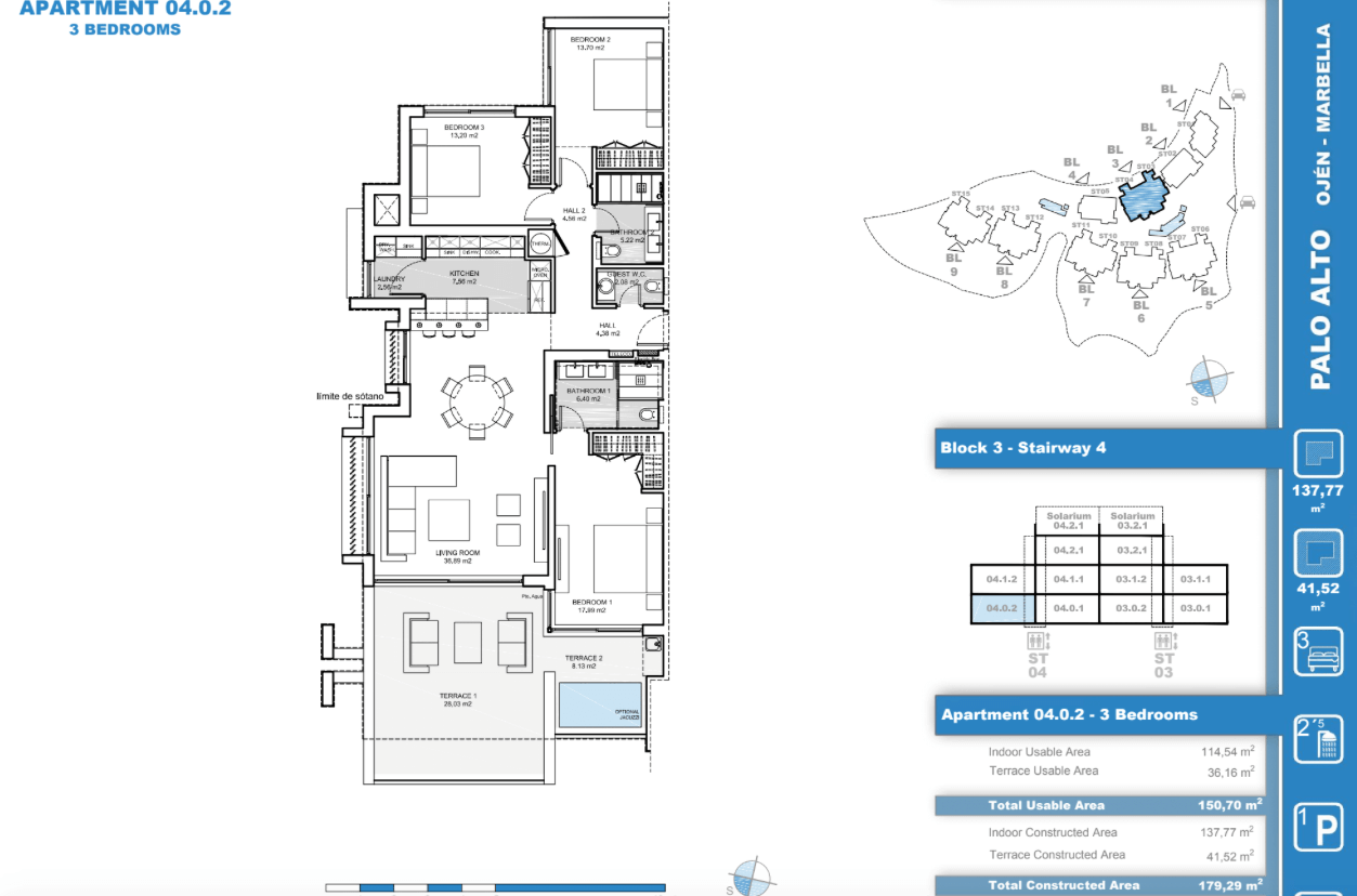 palo alto ojen marbella nieuwbouw resort luxe te koop appartement penthouse modern grondplan los almendros I slaapkamers 3 gelijkvloers