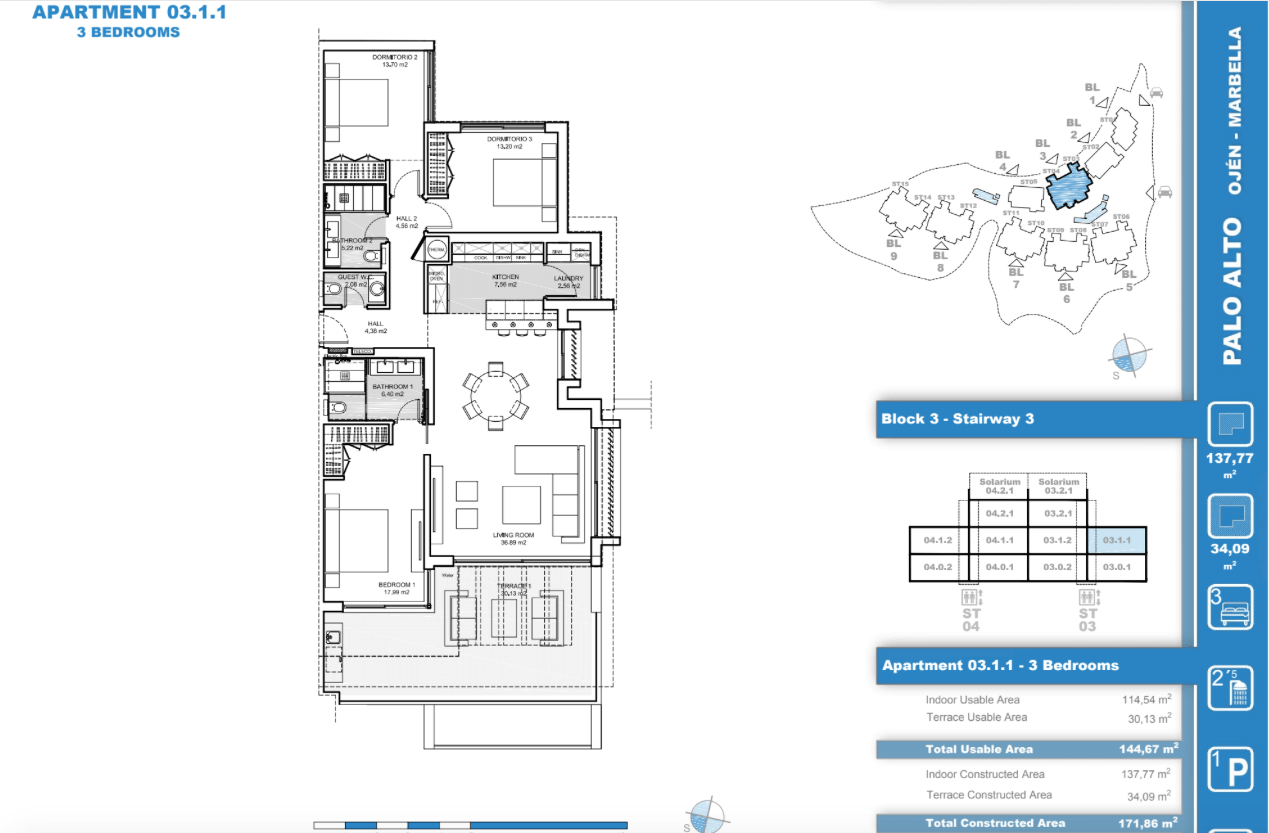 palo alto ojen marbella nieuwbouw resort luxe te koop appartement penthouse modern grondplan los almendros I slaapkamers 3