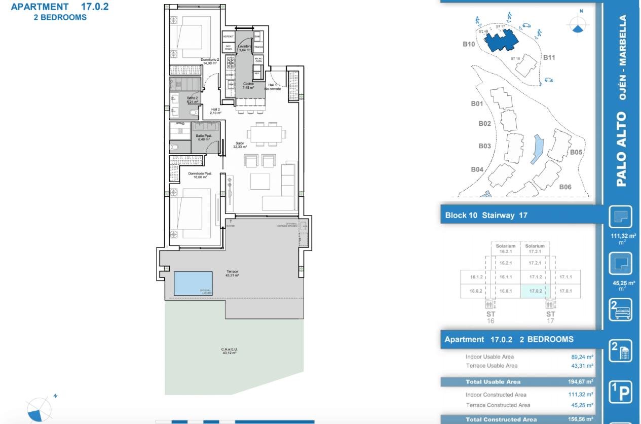 palo alto ojen marbella nieuwbouw resort luxe te koop appartement penthouse modern grondplan los almendros II slaapkamers 2
